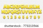 comic lettering font 3d. vector ... | Shutterstock .eps vector #773213566