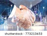 handshake on abstract night... | Shutterstock . vector #773213653