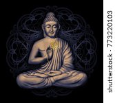 seated buddha in a lotus pose   ... | Shutterstock . vector #773220103