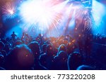 colorful fireworks and crowd... | Shutterstock . vector #773220208