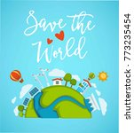 save world planet green ecology ... | Shutterstock .eps vector #773235454