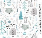 seamless woodland pattern with... | Shutterstock .eps vector #773236390