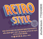 vector retro font with graphic... | Shutterstock .eps vector #773243830