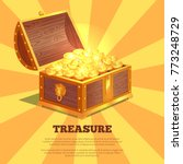 treasure bright wooden box ... | Shutterstock .eps vector #773248729