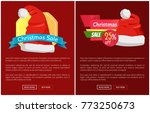 xmas sale santa claus hats on... | Shutterstock .eps vector #773250673