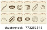 labels with bread and pastries. ... | Shutterstock .eps vector #773251546