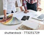 two interior design or graphic... | Shutterstock . vector #773251729