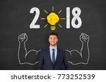 new year 2018 idea concepts on... | Shutterstock . vector #773252539