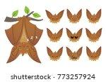 bat sleeping  hanging upside... | Shutterstock .eps vector #773257924