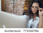 business woman with glasses in ... | Shutterstock . vector #773260786