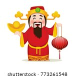 chinese god of wealth holding... | Shutterstock .eps vector #773261548