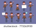 set of male character in casual ... | Shutterstock .eps vector #773263930