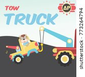 tow truck towing a broken car ... | Shutterstock .eps vector #773264794