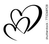 two lovers heart. handmade... | Shutterstock .eps vector #773268928