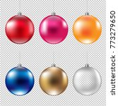 colorful christmas balls with... | Shutterstock .eps vector #773279650