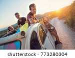 group of happy people in a car... | Shutterstock . vector #773280304