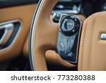 Small photo of MINSK, BELARUS - NOVEMBER 7, 2017: Photo of Range Rover Velar's steering wheel with capacitive controls that accomplish a host of functions that driver want the vehicle to perform.