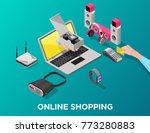 isometric gadgets online...   Shutterstock .eps vector #773280883