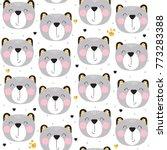 seamless pattern of cute bears...   Shutterstock .eps vector #773283388