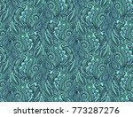 seamless turquoise wave pattern | Shutterstock .eps vector #773287276