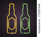 beer bottle glasses neon light... | Shutterstock .eps vector #773287468