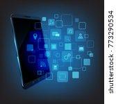 touchscreen smartphone with... | Shutterstock .eps vector #773290534