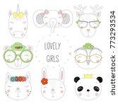 Stock vector set of hand drawn cute funny portraits of cat bear panda bunny reindeer unicorn owl elephant 773293534