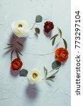 floral round frame  | Shutterstock . vector #773297104
