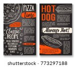 fast food pizza and hot dog... | Shutterstock .eps vector #773297188