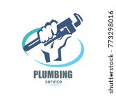 hand holding a wrench  plumbing ... | Shutterstock .eps vector #773298016
