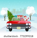 vintage red cabriolet with... | Shutterstock .eps vector #773299318