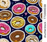 donuts seamless pattern vector... | Shutterstock .eps vector #773300038