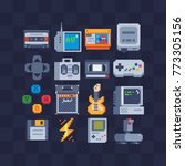 pixel art flat icons set. retro ... | Shutterstock .eps vector #773305156