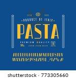 sans serif font in retro style... | Shutterstock .eps vector #773305660