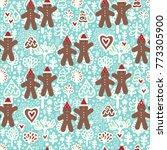 seamless vector christmas... | Shutterstock .eps vector #773305900