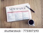 reading newspaper and drinking... | Shutterstock . vector #773307193