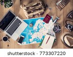 travel planning concept on map | Shutterstock . vector #773307220
