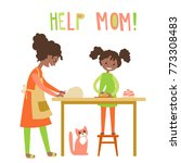 mom and dauhter cooking... | Shutterstock . vector #773308483