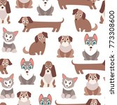 seamless  pattern with cute... | Shutterstock . vector #773308600