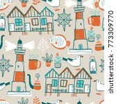 doodle illustration. north sea....   Shutterstock . vector #773309770