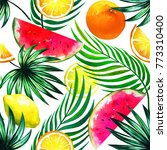 exotic tropical mix of fruits.... | Shutterstock . vector #773310400