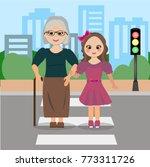 grandmother and girl turns...   Shutterstock .eps vector #773311726