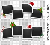 christmas photo frame set with... | Shutterstock .eps vector #773312806