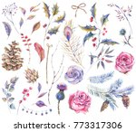 set of watercolor vintage roses ... | Shutterstock . vector #773317306
