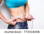 woman diet background fitness... | Shutterstock . vector #773318308