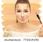 contouring.make up woman face....   Shutterstock . vector #773319190