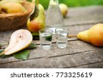 pear alcohol drink in two shot... | Shutterstock . vector #773325619