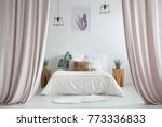 pastel curtains in rustic... | Shutterstock . vector #773336833