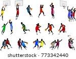 basketball players illustration ... | Shutterstock .eps vector #773342440