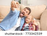 cute little girl and her father ... | Shutterstock . vector #773342539